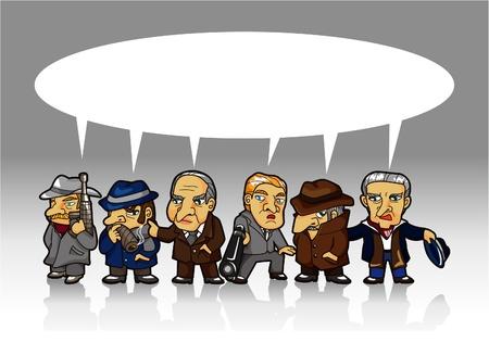 gangster with gun: tarjeta de mafia de dibujos animados  Vectores
