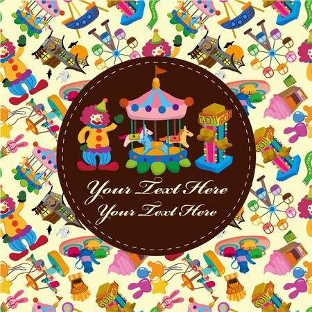 amusement: amusement park card Illustration