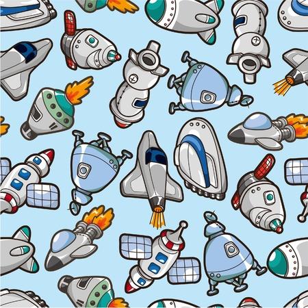 seamless spaceship pattern  Vector