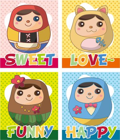 Russian Doll card  Vector