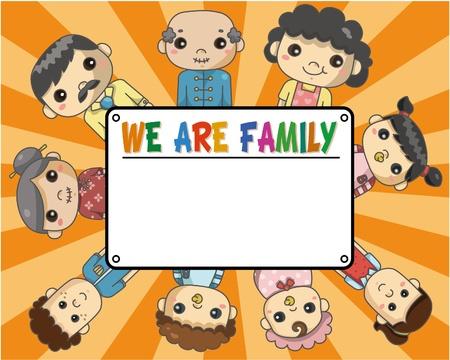 tarjeta familiar de dibujos animados