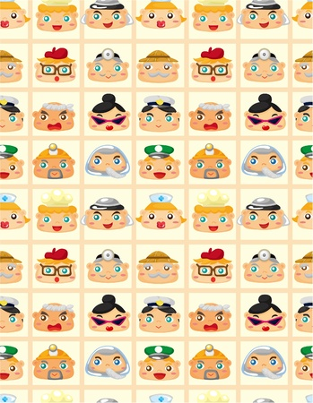 seamless people face pattern  Vector