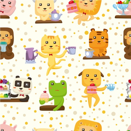seamless animal tea time pattern  Vector