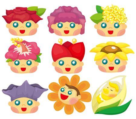 cartoon flower face icon Stock Vector - 9337552