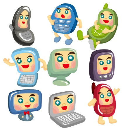 cartoon computer and phone face icon  Vector