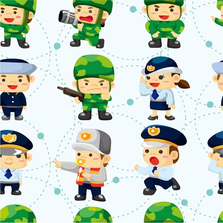 seamless police and soldier pattern  Vector