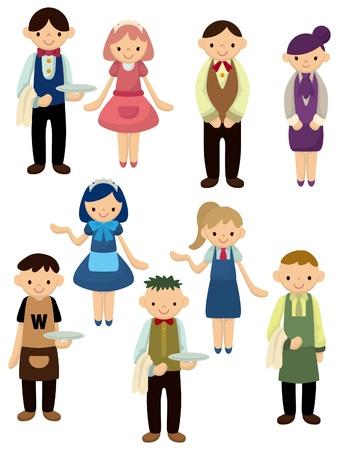 serviteurs: ic�ne de serveur et serveuse de dessin anim�  Illustration