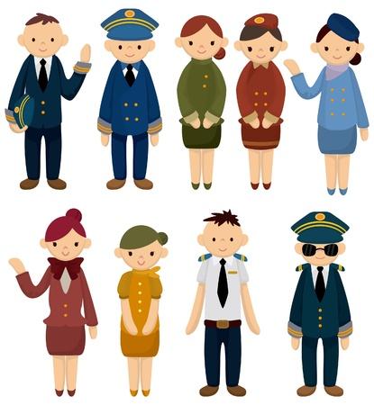 icona di cartone animato pilota/assistente di volo