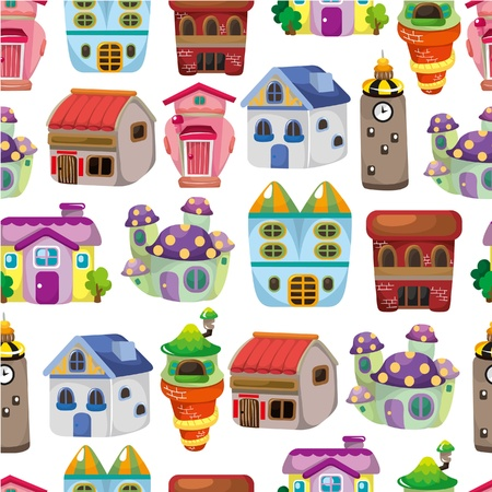seamless house pattern  向量圖像
