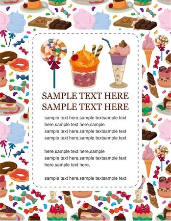 snoep taart kaart  Vector Illustratie