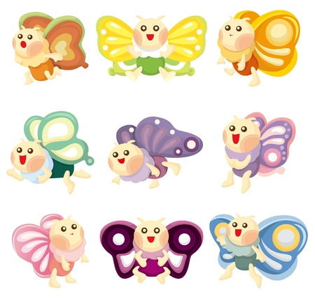cartoon butterfly: icono de mariposa de dibujos animados Vectores