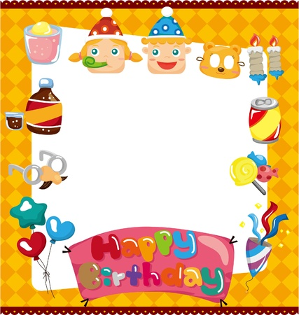 balloon border: cartoon birthday card Illustration