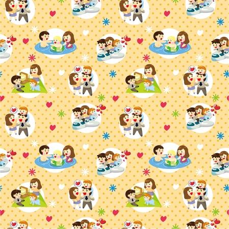 seamless sweet family pattern  Illustration