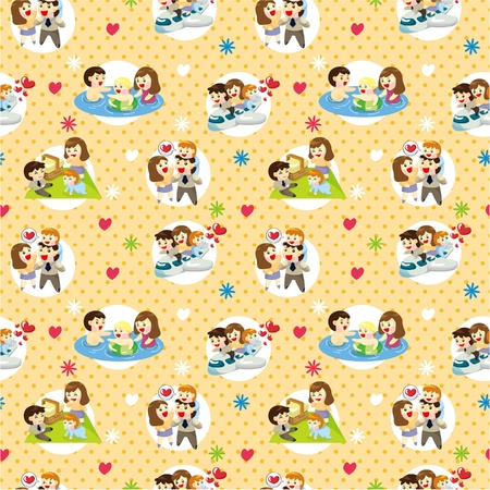 happy family outdoor: seamless sweet family pattern  Illustration