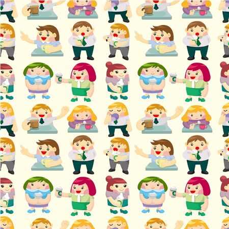 seamless office worker tea time pattern Stock Vector - 9374216