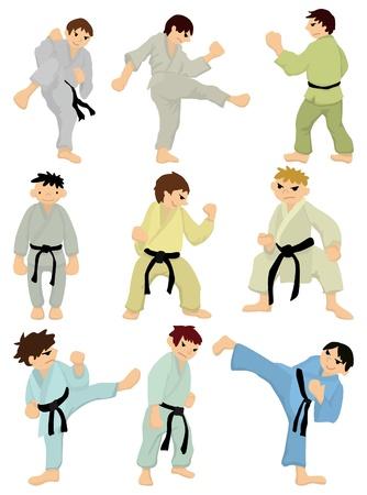 cartoon Karate Player icon  Vector