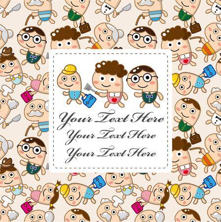 home birth: cartoon family card  Illustration