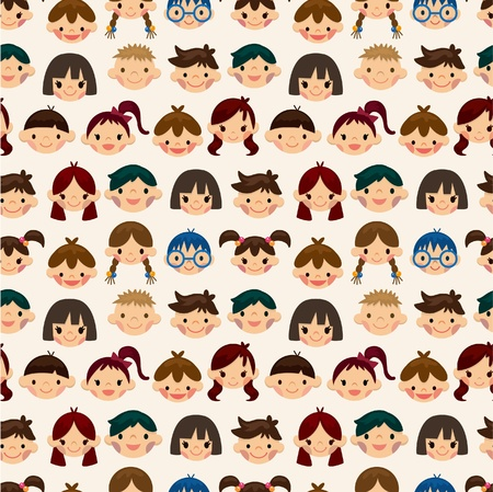 seamless child face pattern Vector