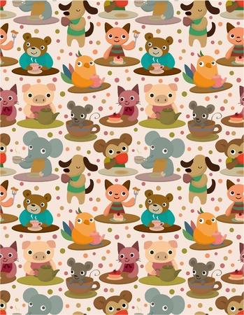 seamless animal tea time pattern Vector