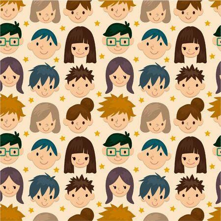 seamless young people face pattern  Vector