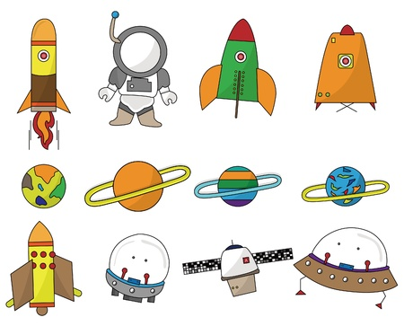 spacecraft: cartoon space icon Illustration