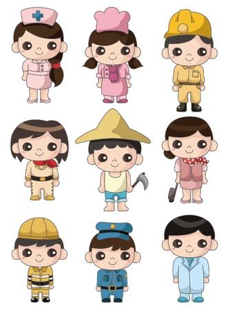Personas de dibujos animados de trabajo icono  Foto de archivo - 9391771