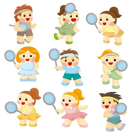 cartoon Tennis Players icon Stock Vector - 9391798