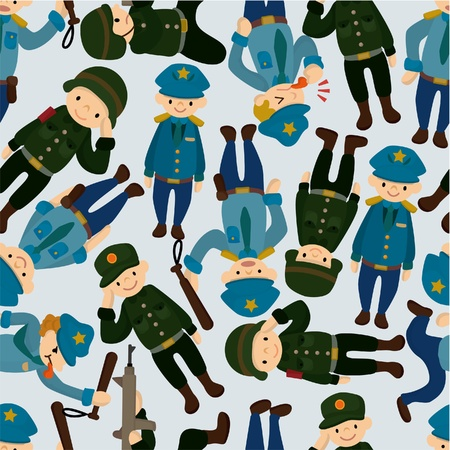 seamless police and army pattern Vector
