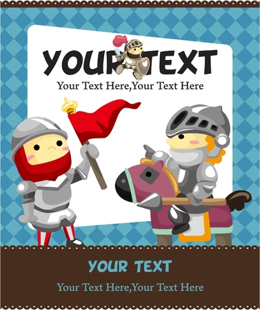 cartoon knight card Vector