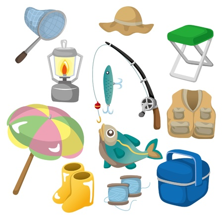 bait box: cartoon Fishing icons Illustration