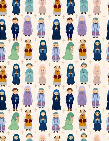 nun: seamless priest pattern Illustration