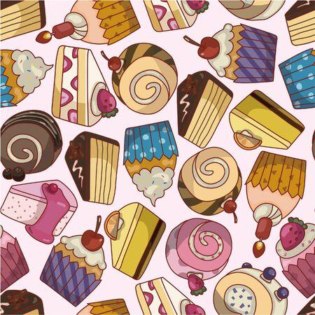 seamless cartoon cake pattern Vector