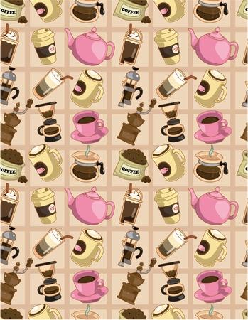 seamless cartoon coffee  pattern Stock Vector - 9410690