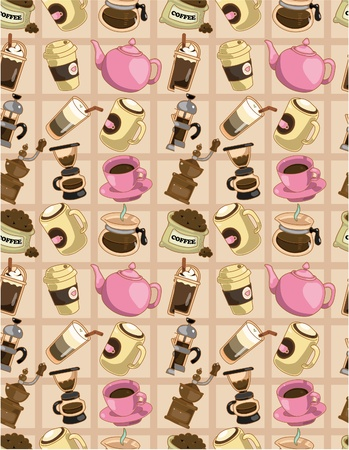 seamless cartoon coffee  pattern Stock Vector - 9410690
