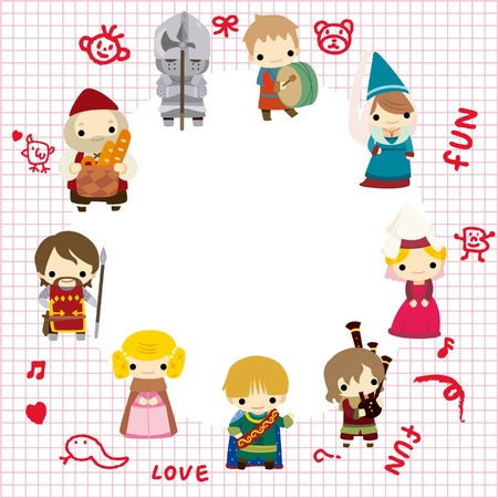 cartoon Medieval people card Vector