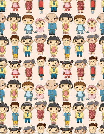 seamless cartoon family pattern Vector