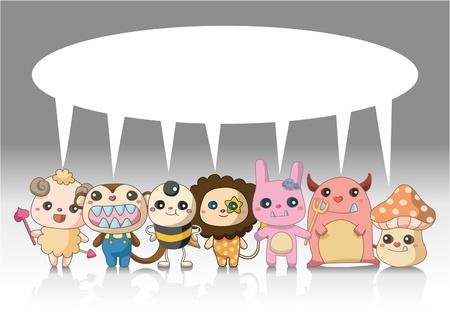 만화 괴물 동물 카드 스톡 콘텐츠 - 9413922