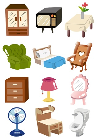 cartoon home furniture icon Vector