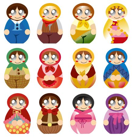 cartoon Russian Doll icon Stock Vector - 9423314