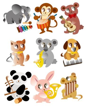 cartoon animal play music icon 일러스트