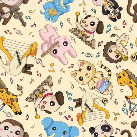 seamless animal play music pattern Vector