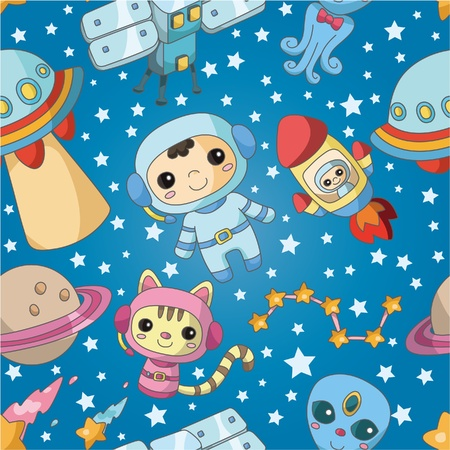 space station: seamless cartoon space pattern