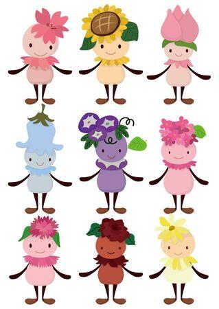 fairy story: icona di fata fiore dei cartoni animati Vettoriali