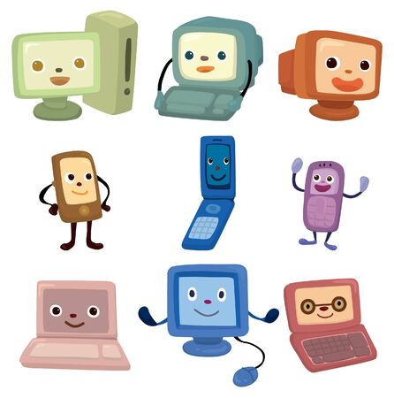 computer office: cartoon computer and phone face icon