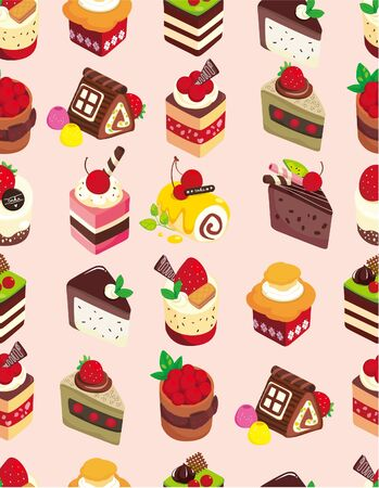 seamless sweet cake pattern Vector