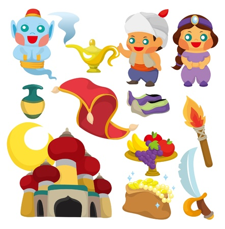 tales: cartoon Lamp of Aladdin icon Illustration