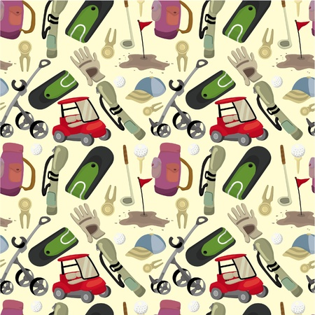 golf cart: seamless cartoon golf game pattern