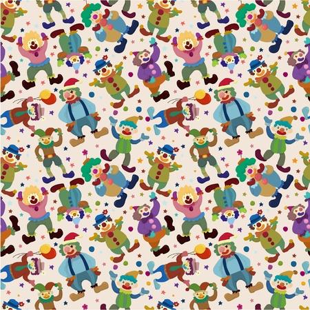 seamless cartoon circus clown pattern Vector