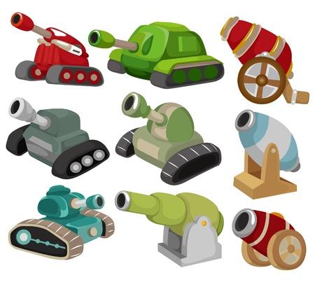 war tank: caricatura icono conjunto de ca��n de tanquearmas