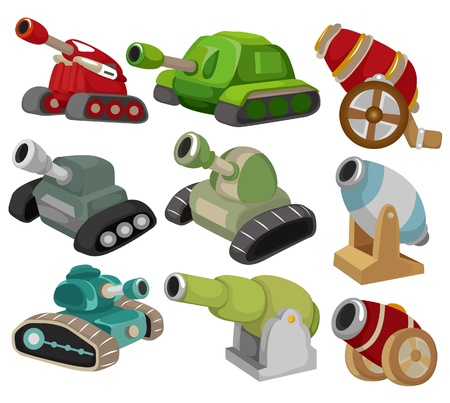 cartoon TankCannon Weapon set icon Vector